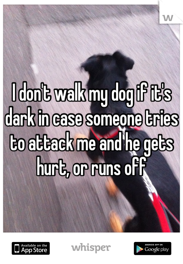 I don't walk my dog if it's dark in case someone tries to attack me and he gets hurt, or runs off
