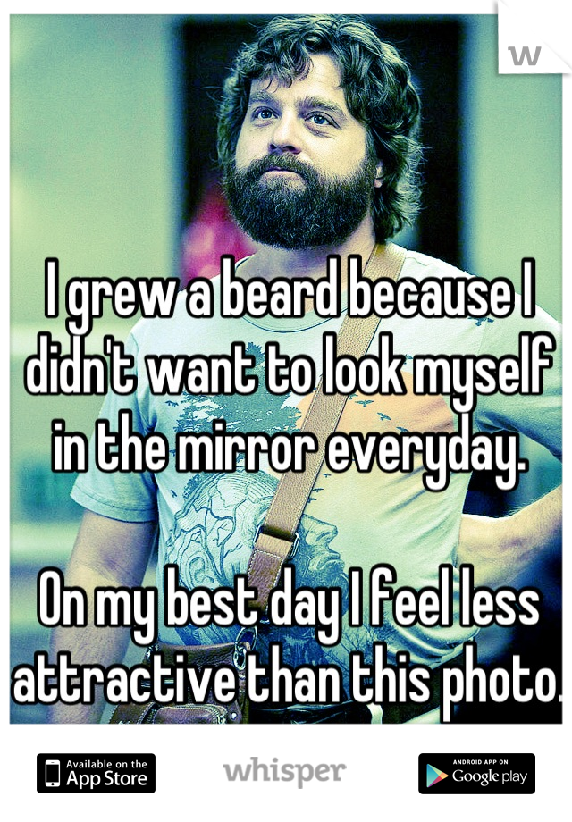 I grew a beard because I didn't want to look myself in the mirror everyday.   On my best day I feel less attractive than this photo.