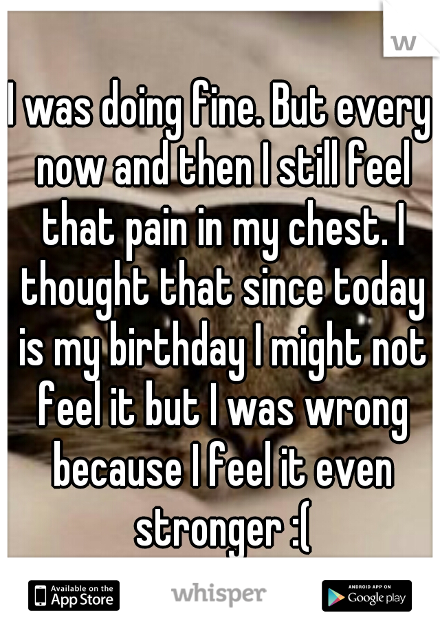 I was doing fine. But every now and then I still feel that pain in my chest. I thought that since today is my birthday I might not feel it but I was wrong because I feel it even stronger :(