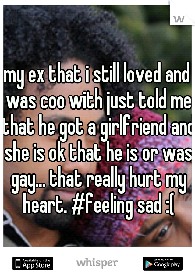 my ex that i still loved and was coo with just told me that he got a girlfriend and she is ok that he is or was gay... that really hurt my heart. #feeling sad :(