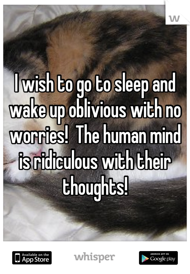 I wish to go to sleep and wake up oblivious with no worries!  The human mind is ridiculous with their thoughts!