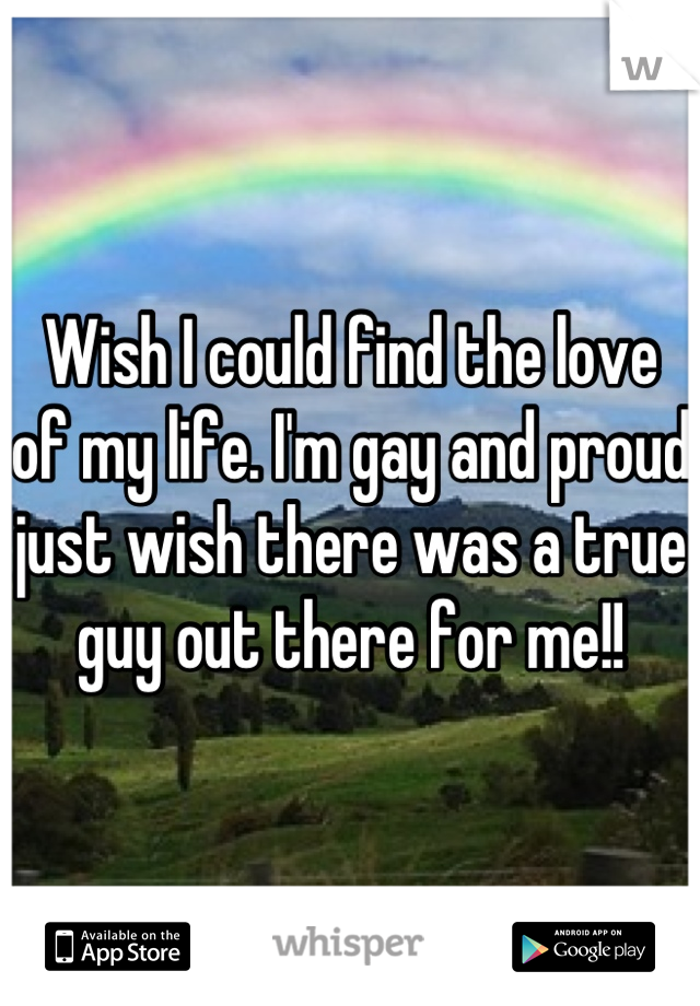 Wish I could find the love of my life. I'm gay and proud just wish there was a true guy out there for me!!