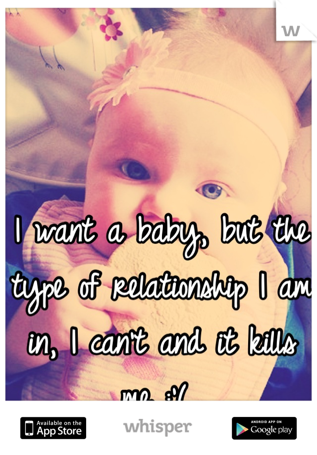 I want a baby, but the type of relationship I am in, I can't and it kills me :'(