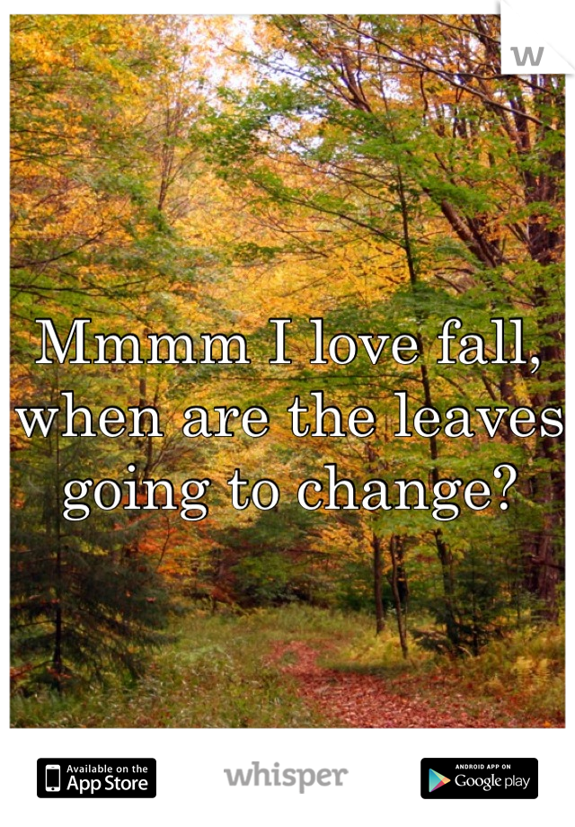 Mmmm I love fall, when are the leaves going to change?