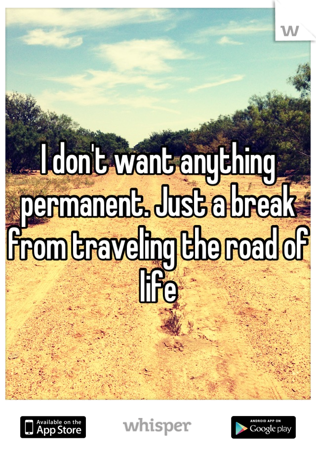 I don't want anything permanent. Just a break from traveling the road of life
