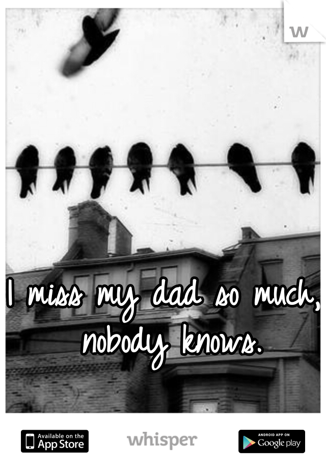 I miss my dad so much, nobody knows.