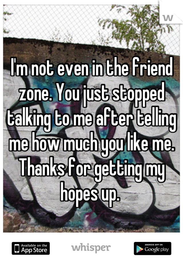 I'm not even in the friend zone. You just stopped talking to me after telling me how much you like me. Thanks for getting my hopes up.