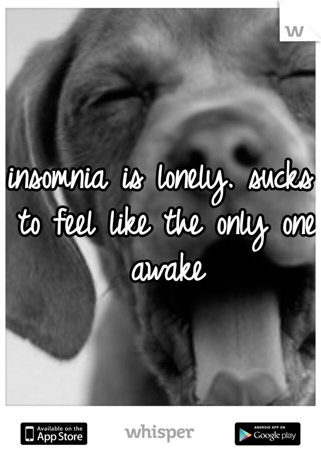 insomnia is lonely. sucks to feel like the only one awake