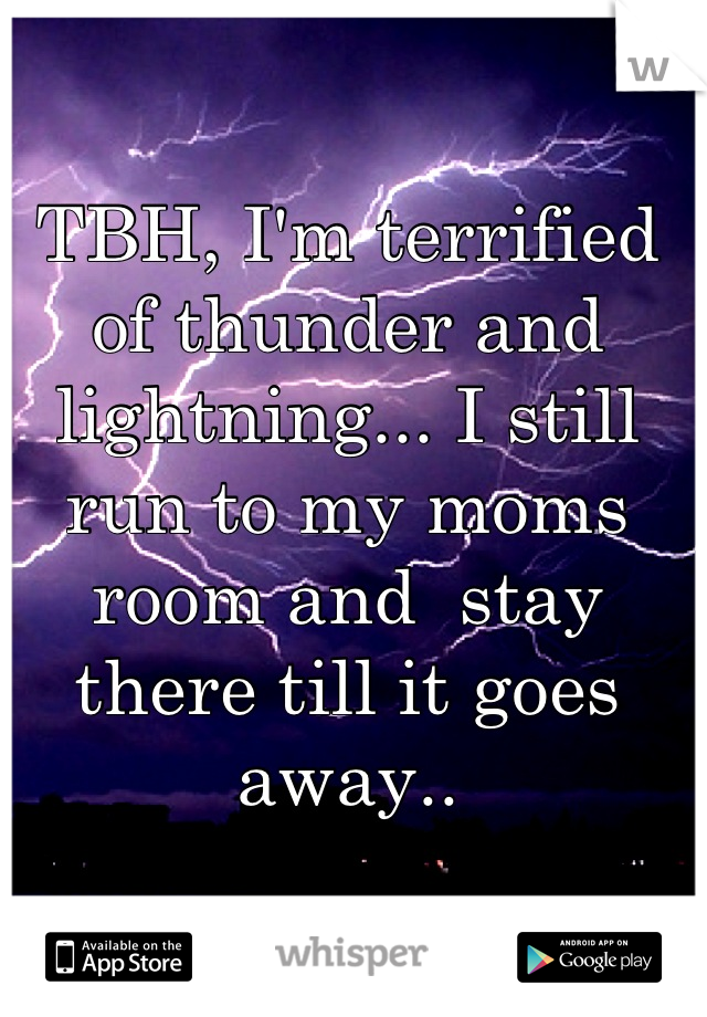 TBH, I'm terrified of thunder and lightning... I still run to my moms room and  stay there till it goes away..