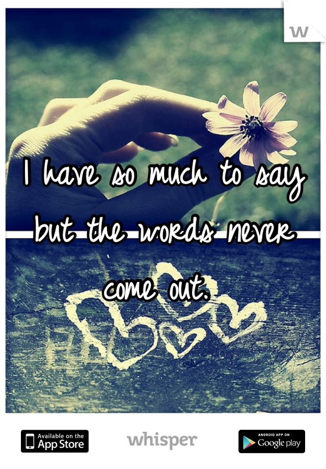 I have so much to say but the words never come out.