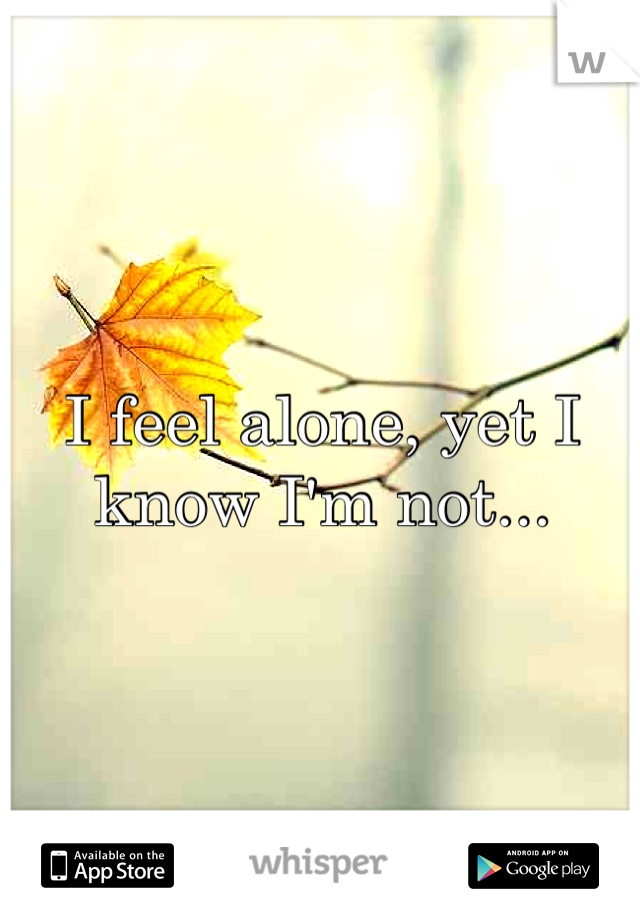 I feel alone, yet I know I'm not...