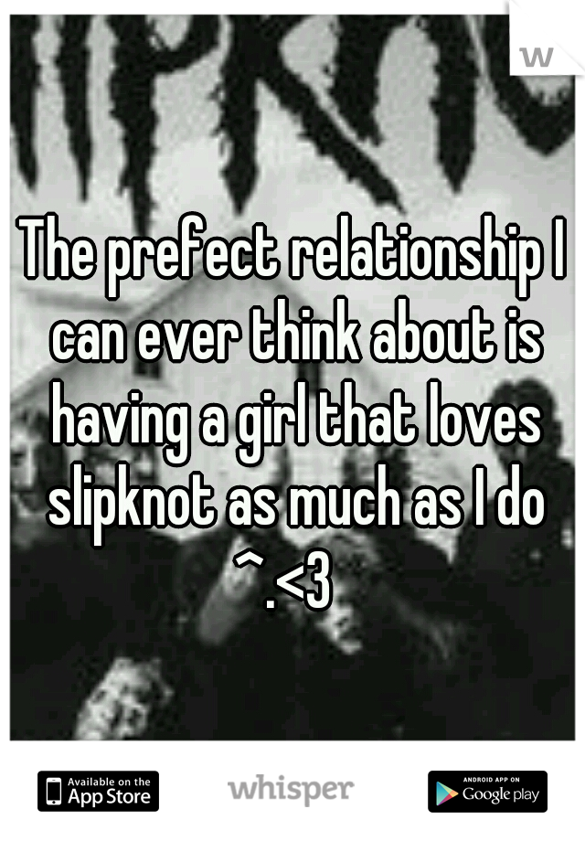 The prefect relationship I can ever think about is having a girl that loves slipknot as much as I do ^.<3