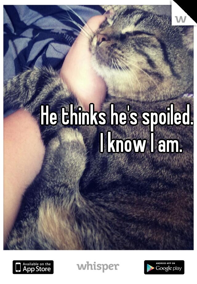 He thinks he's spoiled.            I know I am.