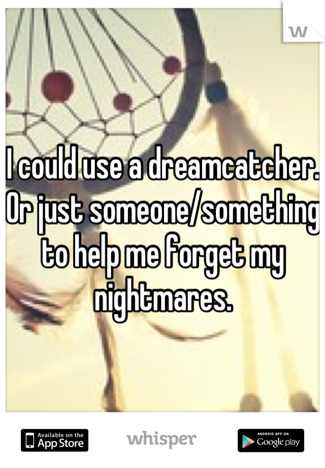 I could use a dreamcatcher. Or just someone/something to help me forget my nightmares.