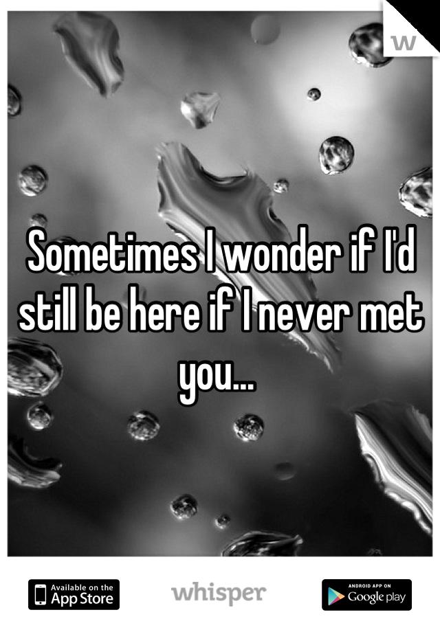 Sometimes I wonder if I'd still be here if I never met you...