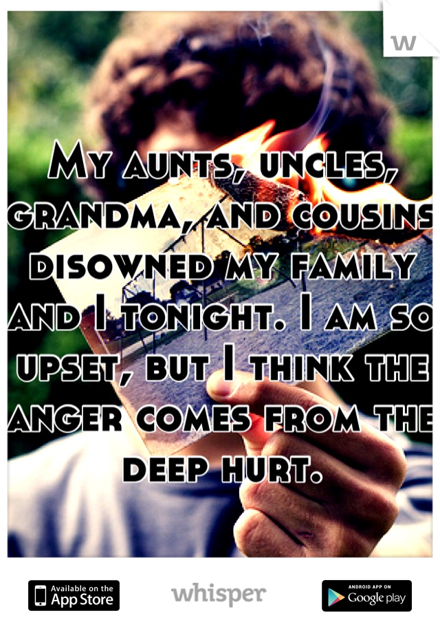 My aunts, uncles, grandma, and cousins disowned my family and I tonight. I am so upset, but I think the anger comes from the deep hurt.