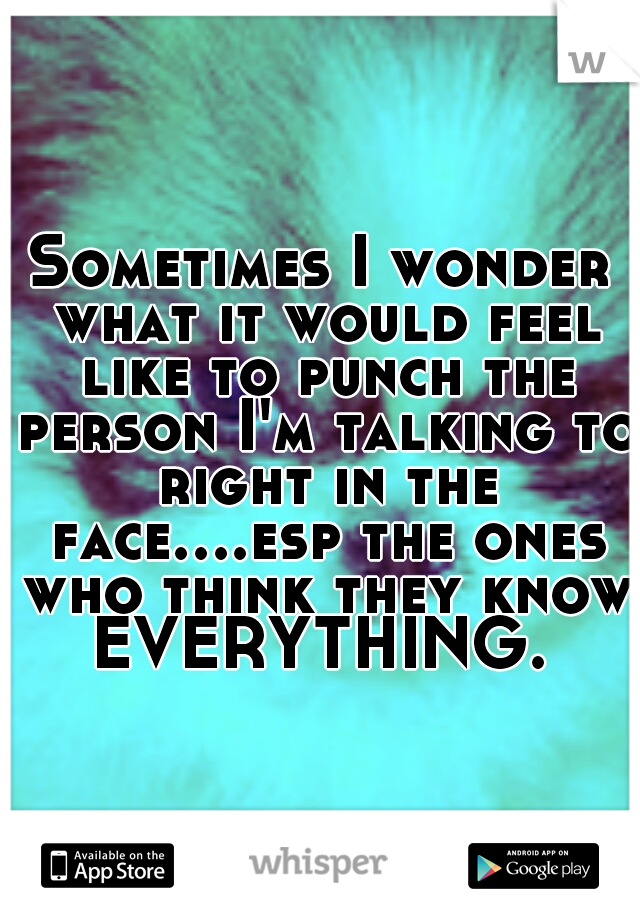 Sometimes I wonder what it would feel like to punch the person I'm talking to right in the face....esp the ones who think they know EVERYTHING.