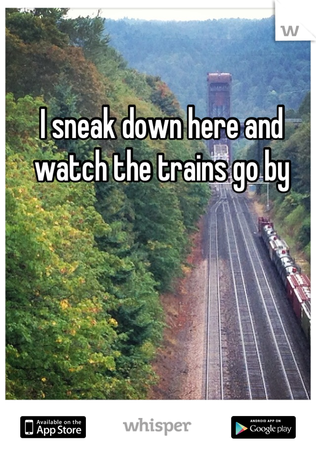 I sneak down here and watch the trains go by