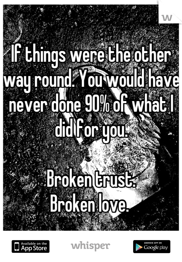 If things were the other way round. You would have never done 90% of what I did for you.   Broken trust.  Broken love.