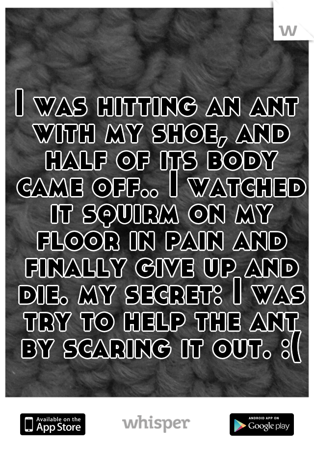 I was hitting an ant with my shoe, and half of its body came off.. I watched it squirm on my floor in pain and finally give up and die. my secret: I was try to help the ant by scaring it out. :(