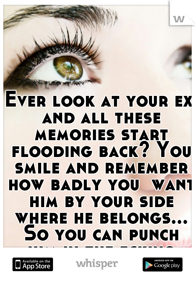 Ever look at your ex and all these memories start flooding back? You smile and remember how badly you  want him by your side where he belongs... So you can punch him in the fcking face!