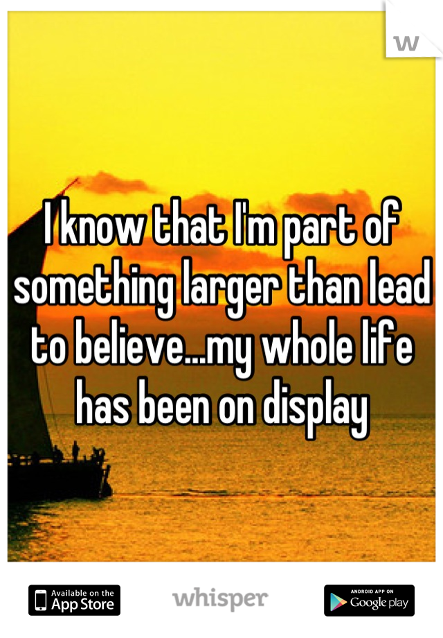 I know that I'm part of something larger than lead to believe...my whole life has been on display
