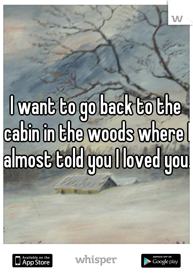 I want to go back to the cabin in the woods where I almost told you I loved you.
