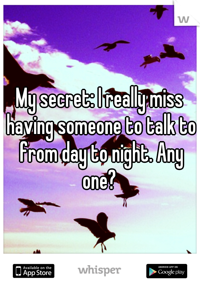 My secret: I really miss having someone to talk to from day to night. Any one?