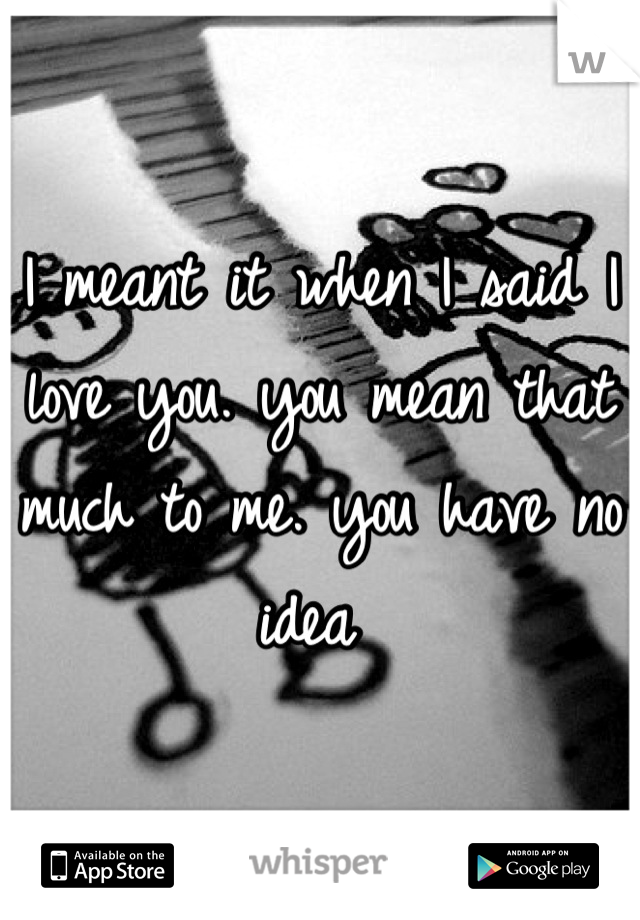 I meant it when I said I love you. you mean that much to me. you have no idea