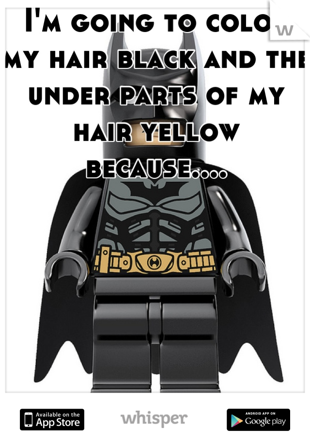 I'm going to color my hair black and the under parts of my hair yellow because....       Batman<3