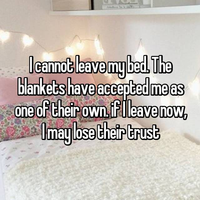 I cannot leave my bed. The blankets have accepted me as one of their own. if I leave now, I may lose their trust