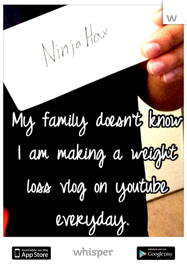 My family doesn't know I am making a weight loss vlog on youtube everyday.