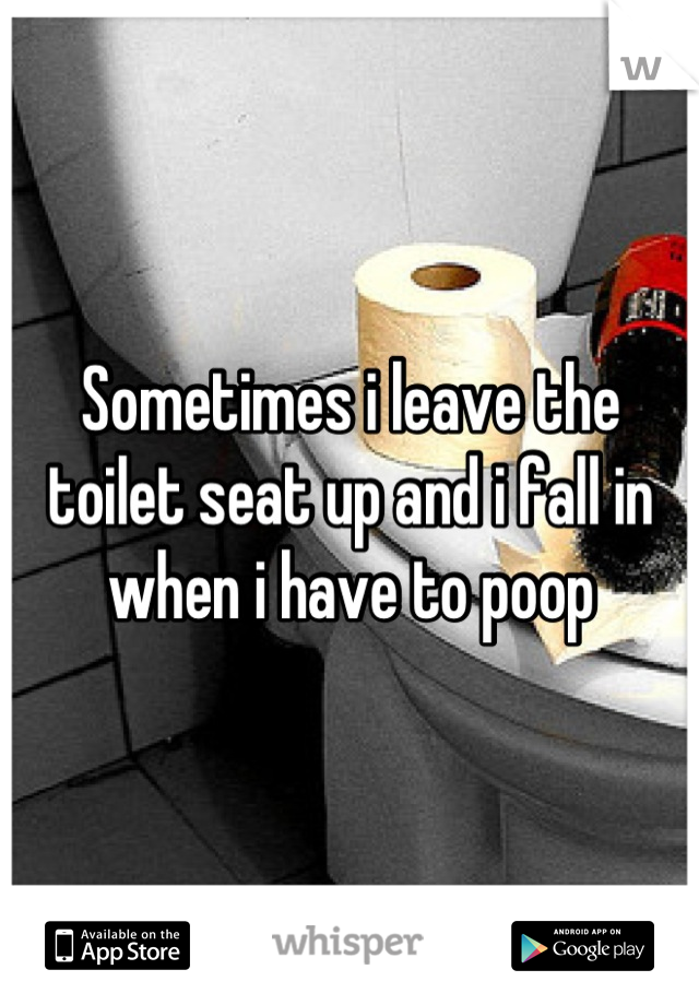 Sometimes i leave the toilet seat up and i fall in when i have to poop