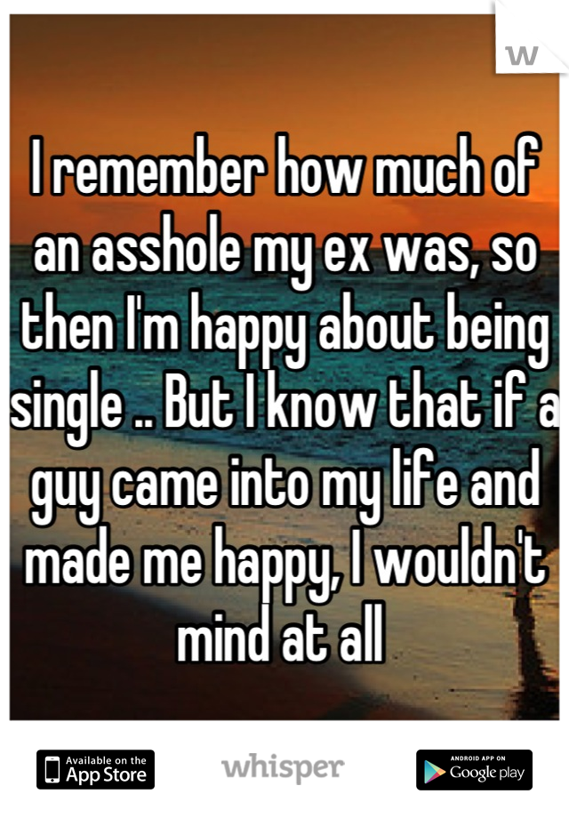 I remember how much of an asshole my ex was, so then I'm happy about being single .. But I know that if a guy came into my life and made me happy, I wouldn't mind at all