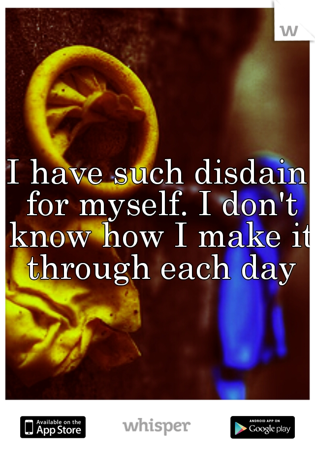 I have such disdain for myself. I don't know how I make it through each day