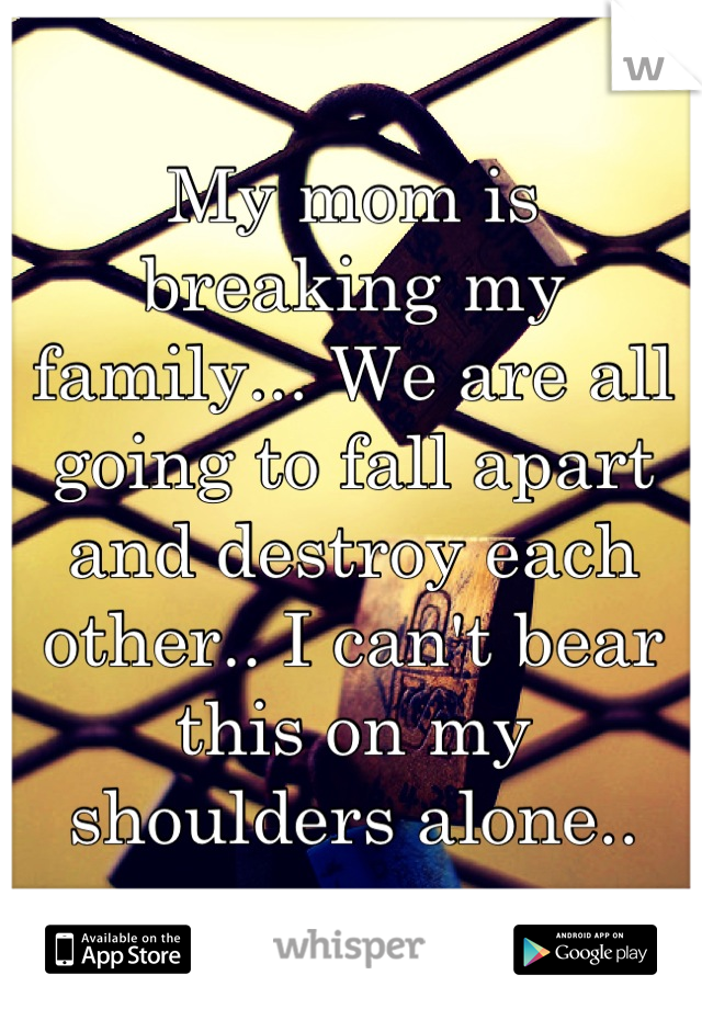 My mom is breaking my family... We are all going to fall apart and destroy each other.. I can't bear this on my shoulders alone..