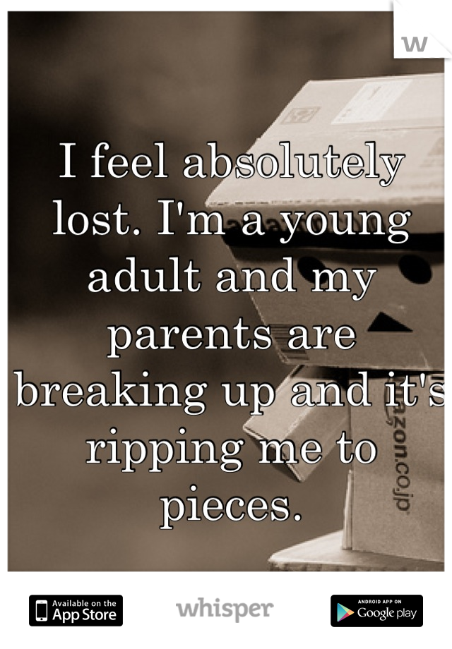 I feel absolutely lost. I'm a young adult and my parents are breaking up and it's ripping me to pieces.