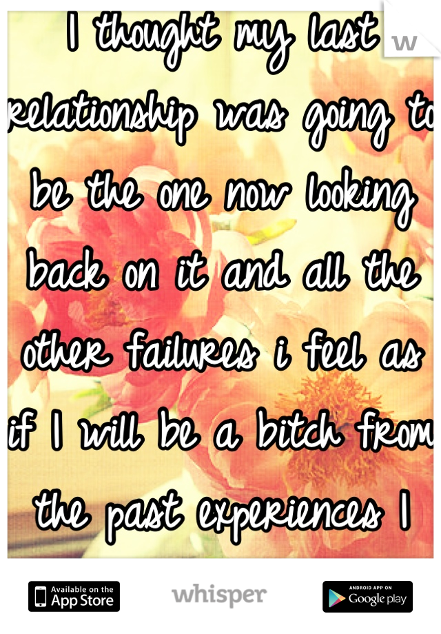 I thought my last relationship was going to be the one now looking back on it and all the other failures i feel as if I will be a bitch from the past experiences I just don't want to be hurt again