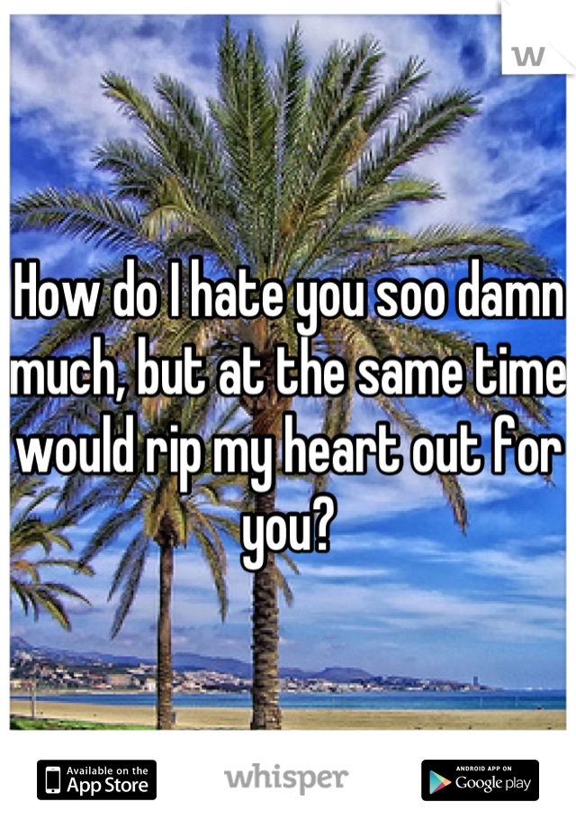 How do I hate you soo damn much, but at the same time would rip my heart out for you?