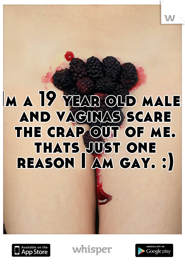 Im a 19 year old male. and vaginas scare the crap out of me. thats just one reason I am gay. :)