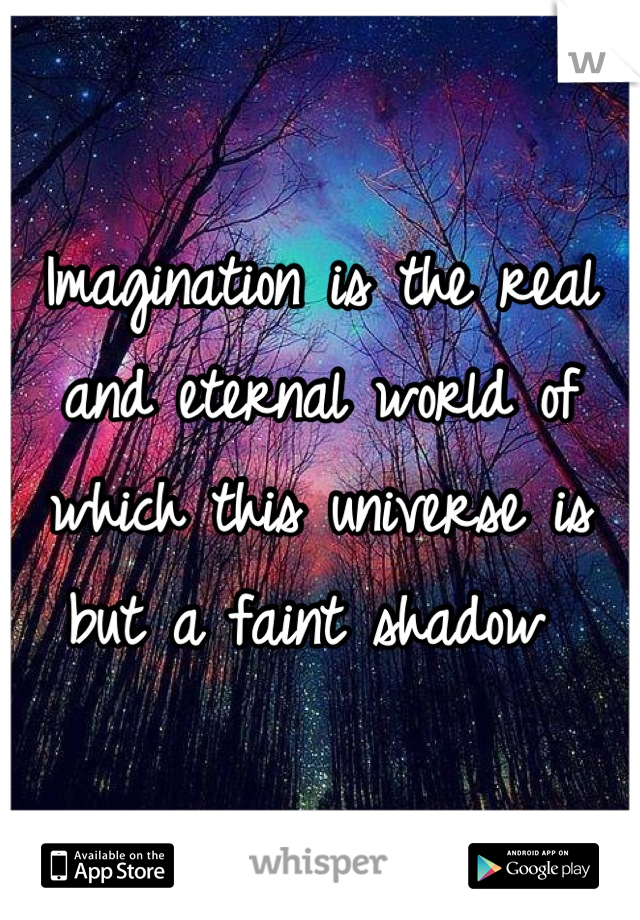 Imagination is the real and eternal world of which this universe is but a faint shadow