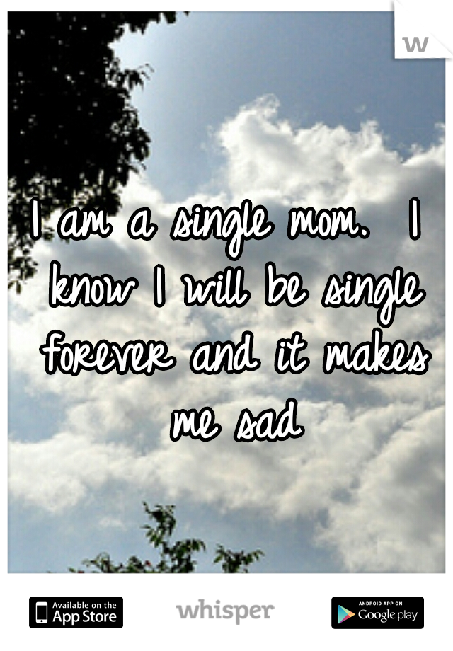 I am a single mom.  I know I will be single forever and it makes me sad