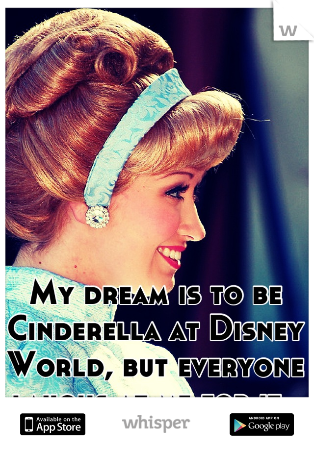 My dream is to be Cinderella at Disney World, but everyone laughs at me for it.