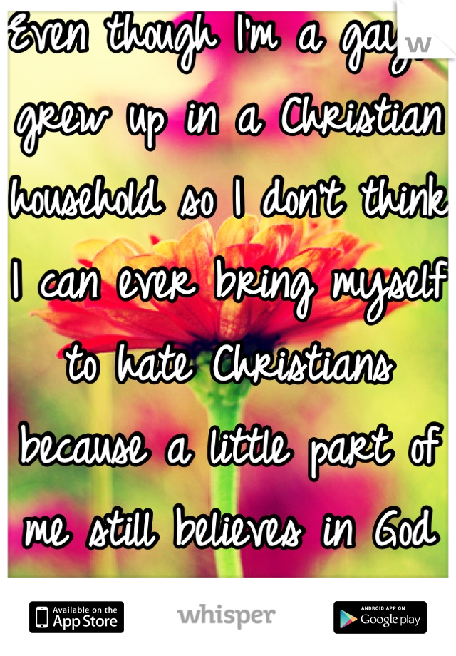 Even though I'm a gay, I grew up in a Christian household so I don't think I can ever bring myself to hate Christians because a little part of me still believes in God sometimes…