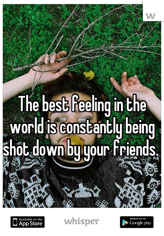 The best feeling in the world is constantly being shot down by your friends.