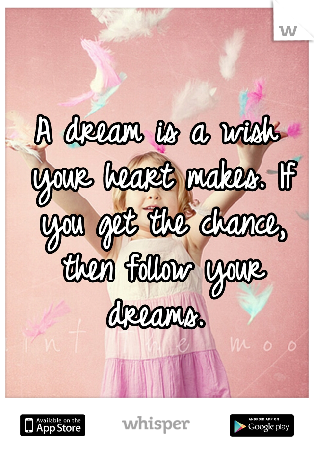 A dream is a wish your heart makes. If you get the chance, then follow your dreams.
