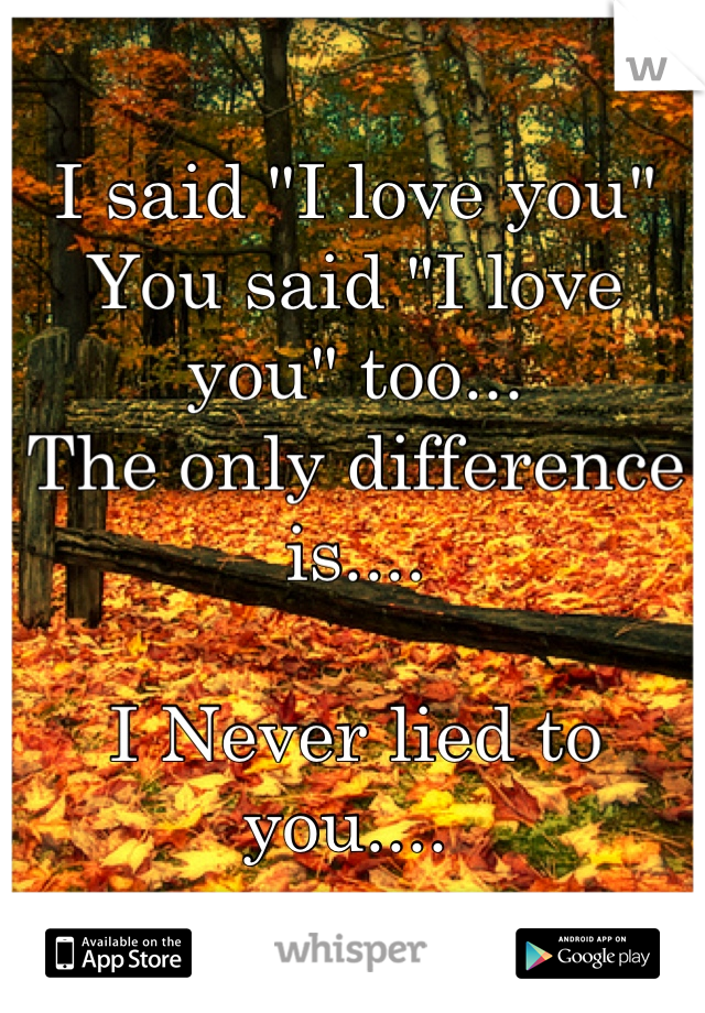 "I said ""I love you""  You said ""I love you"" too... The only difference is....  I Never lied to you...."