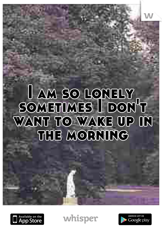 I am so lonely sometimes I don't want to wake up in the morning