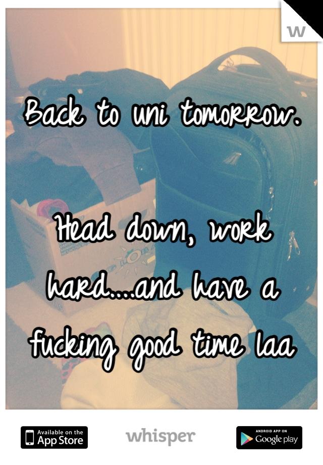 Back to uni tomorrow.  Head down, work hard....and have a fucking good time laa