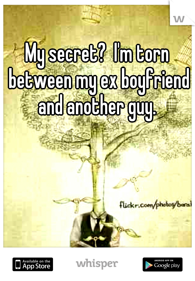 My secret?  I'm torn between my ex boyfriend and another guy.